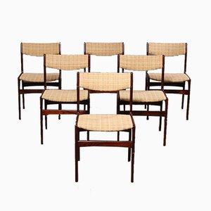 Dänische Mid-Century Palisander Furnier Esszimmerstühle, 6er Set