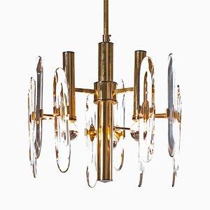 Lámpara de araña de latón y cristal con tres luces de Gaetano Sciolari, años 60