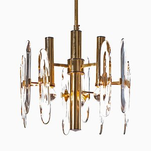 Three-Light Brass & Crystal Glass Chandelier by Gaetano Sciolari, 1960s