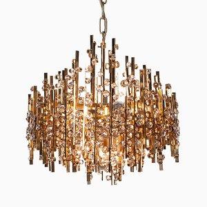 Lámpara de araña de cristal y latón plateado en oro de 5 luces de Palwa, años 60