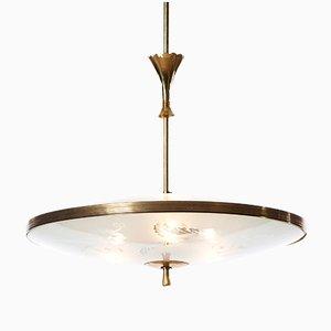 Lámpara colgante italiana con tres luces, años 40
