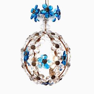 Lanterne à Trois Lampes avec Fleurs en Cristal Bleues, Italie, 1940s