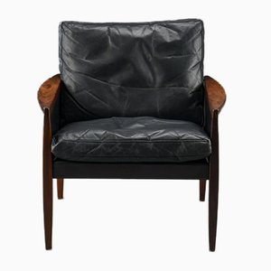 Vintage Rosewood and Leather Armchair by Hans Olsen for the Juul-Kristensen Brothers