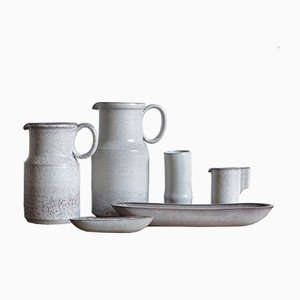 Juego de jarrón y plato de cerámica de Alessio Tasca, años 70