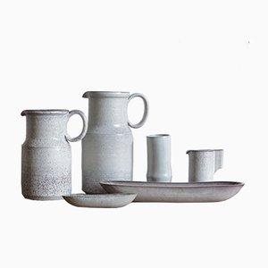 Vaso in ceramica e set di piatti di Alessio Tasca, anni '70