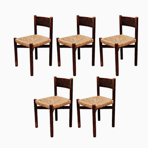 French Meribel Chairs by Charlotte Perriand for Georges Blanchon, 1950s, Set of 5