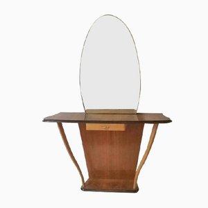 Consolle vintage con specchio, anni '50