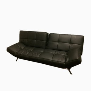Vintage Smala Black Leather Adjustable Sofabed by Pascal Mourgue for Ligne Roset