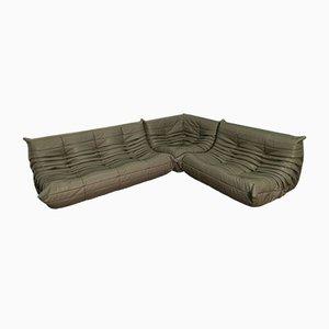 Juego de sofás Togo de cuero gris oscuro de Michel Ducaroy para Ligne Roset