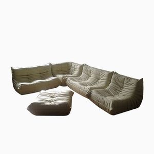 Vintage Beige Leather Togo Sofa Set by Michel Ducaroy for Ligne Roset, 1974