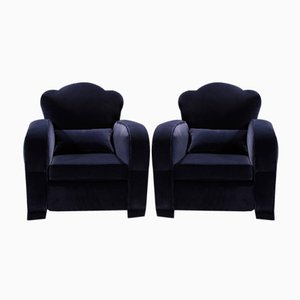 Blue Velvet Club Chairs, 1940s, Set of 2
