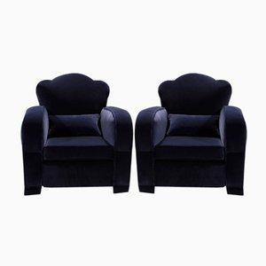 Blue Velvet Club Chairs, 1940s, Set of 2