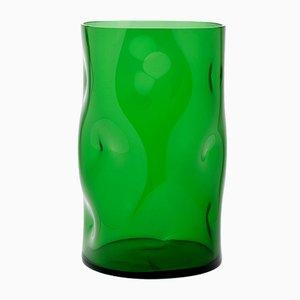 Jarrón pequeño de vidrio bugnato verde