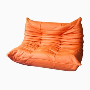 Orange Leather Togo 2-Seater Sofa by Michel Ducaroy for Ligne Roset, 1970s