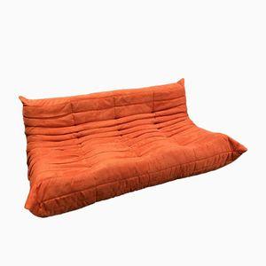 Oranges Mikrofaser Togo 3-Sitzer Sofa von Michel Ducaroy für Ligne Roset, 1970er