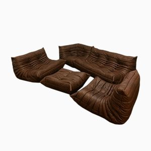 Brown Leather Togo Living Room Set by Michel Ducaroy for Ligne Roset, 1970s