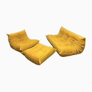 Gelbes Alcantara Togo Sofa Set von Michel Ducaroy für Ligne Roset, 1970er, 3er Set
