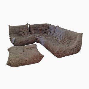 Conjunto Togo de sofás de microfibra gris de Michel Ducaroy para Ligne Roset, años 70. Juego de 5