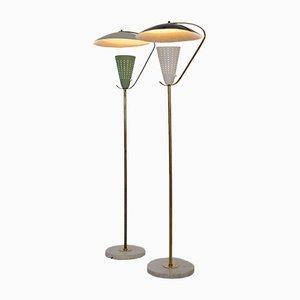Lámparas de pie italianas de latón, mármol y aluminio, años 50. Juego de 2