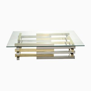 Large Brass & Chrome Coffee Table by Pierre Cardin, 1970s