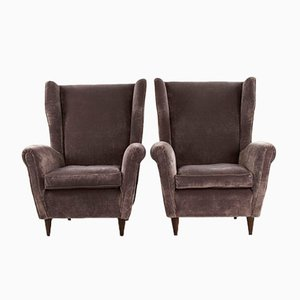 Gray Velvet & Wood Armchairs, 1950s, Set of 2