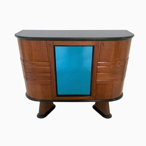 Mueble bar italiano de palisandro y cristal azul, años 50