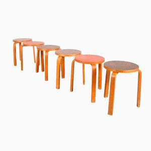 Swedish Stools by Alvar Aalto for Artek, 1950s, Set of 6