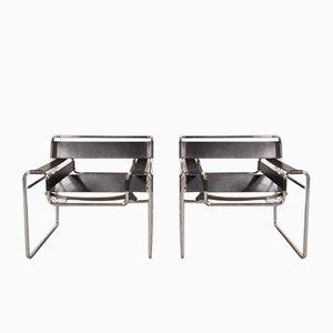 Chaises Wassily en Cuir et en Métal par Marcel Breuer pour Gavina, 1960s, Set de 2