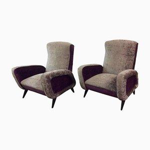 Italian Velvet Armchairs, 1960s, Set of 2