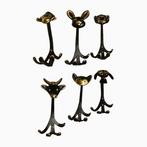 Viennese Coat Hooks by Walter Bosse for Hertha Baller, 1950s, Set of 6