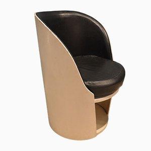 Round Wood & Skai Armchair, 1960s