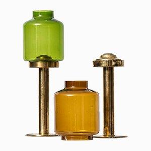 Kerzenhalter aus Messing & Glas von Hans-Agne Jakobsson, 1950er, 2er Set