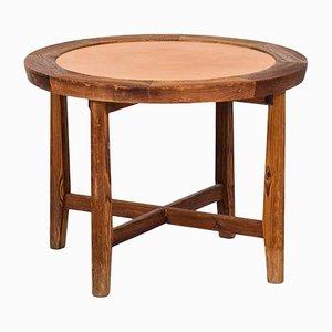 Tavolino in pino e pelle, anni '40