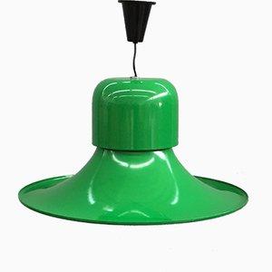 Lámpara colgante esmaltada en verde de Joe Colombo para Stilnovo, años 70