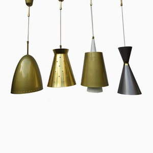 Lacquered Alumnium and Brass Ceiling Lamps, 1950s, Set of 4