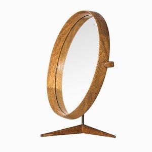 Espejo de mesa de roble de Uno & Östen Kristiansson para Luxus, años 60