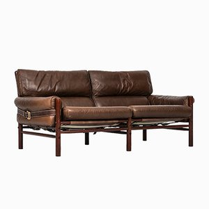 Leather & Beech Kontiki Sofa from Arne Norell, 1960s