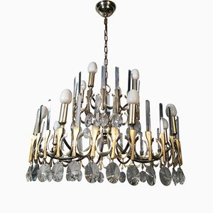 Vintage Italian Two-Tiered Chandelier from Sciolari, 1970s