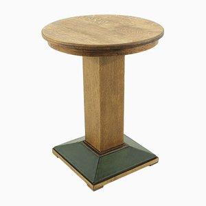 Tavolo piccolo in quercia e linoleum, anni '20