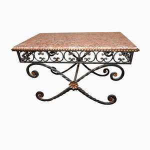 Vintage Wrought Iron & Marble Coffee Table, 1930s