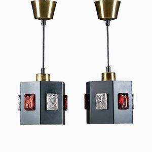 Lámpara colgante sueca de Einar Bäckström & Erik Höglund. Juego de 2