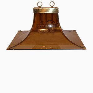 Italian Brown Glass and Brass Ceiling Light, 1970s