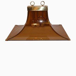 Lampada da soffitto in vetro marrone e ottone, Italia, anni '70