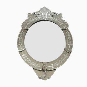 Espejo veneciano vintage de vidrio, años 40