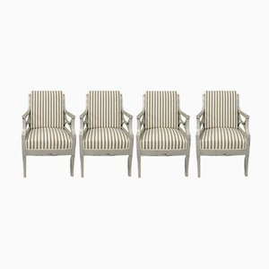 Antique Gustavian Style Armchairs, Set of 4
