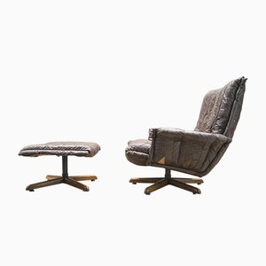 Cavaliere Leather Patchwork Lounge Chair & Ottoman by André Vandenbeuck for Strässle