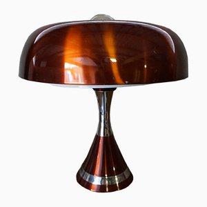 Lámpara de escritorio era espacial de cobre, años 70