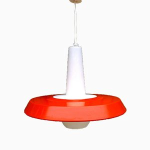 Opaline & Metal Pendant by Louis Kalff for Philips, 1950s