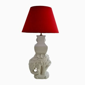 Italian Ceramic and Brass Elephant Table Lamp, 1970s
