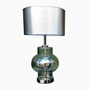 Lámpara de mesa grande de metal y vidrio, años 70